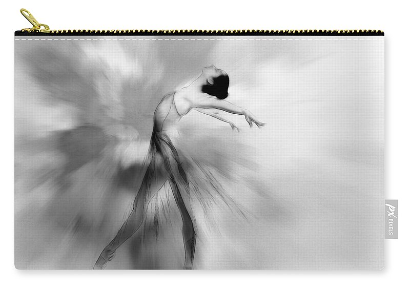Woman Female Girl Ballerina Ballet Dancer Dance Dancing Imagine Air Easy Beauty Erotic Black White Bw Painting Expressionism Impressionism Carry-all Pouch featuring the painting Heavenly Creature Bw by Steve K