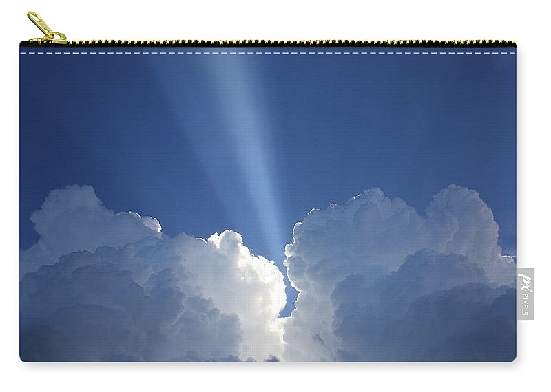 Clouds Carry-all Pouch featuring the photograph Heaven's Spotlight by Rachel Hames
