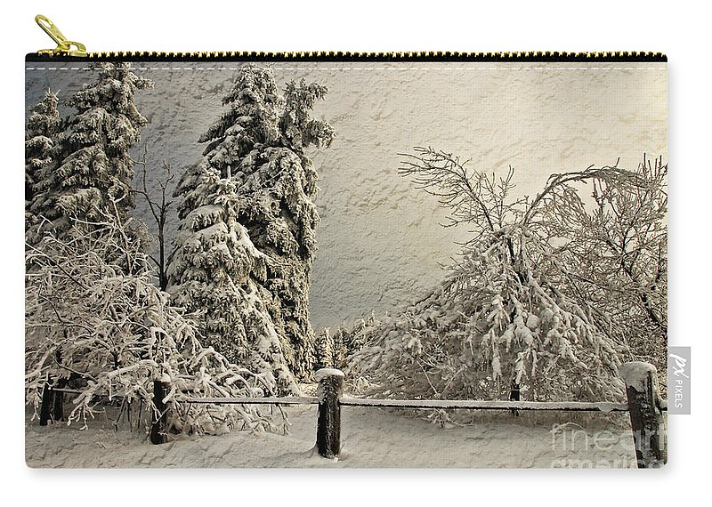 White Christmas Carry-all Pouch featuring the photograph Heavy Laden Blizzard by Lois Bryan