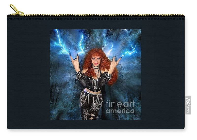 Sofia Metal Queen Carry-all Pouch featuring the digital art Heavy Metal Fashion. Sofia Metal Queen. Blue Fire Storm. The Power by Sofia Metal Queen