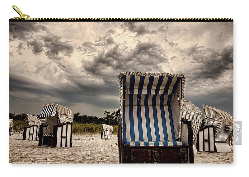 Ostsee Strand Sea Water Weather Clouds Strandkorb Stormy Thunderstorm Heavy Meer Sonne Urlaub Wasser Carry-all Pouch featuring the photograph Heavy Times by Steffen Gierok