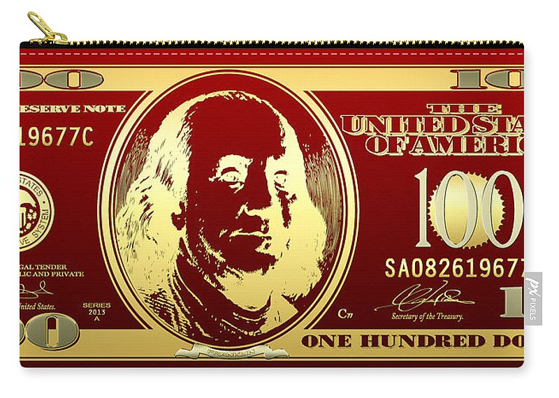 Hello Benjamin - Golden One Hundred Dollar Us Bill On Red Carry-all Pouch