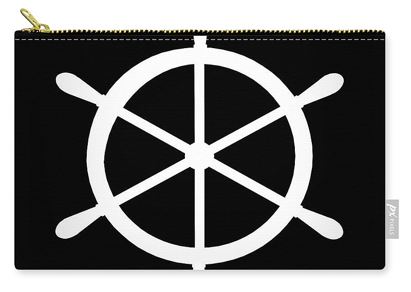 Graphic Art Carry-all Pouch featuring the digital art Helm In White And Black by Jackie Farnsworth