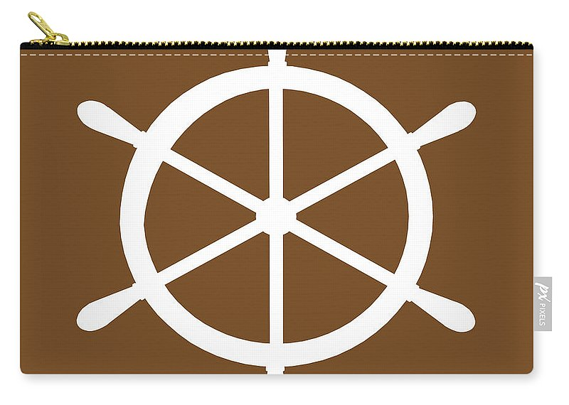 Graphic Art Carry-all Pouch featuring the digital art Helm In White And Brown by Jackie Farnsworth