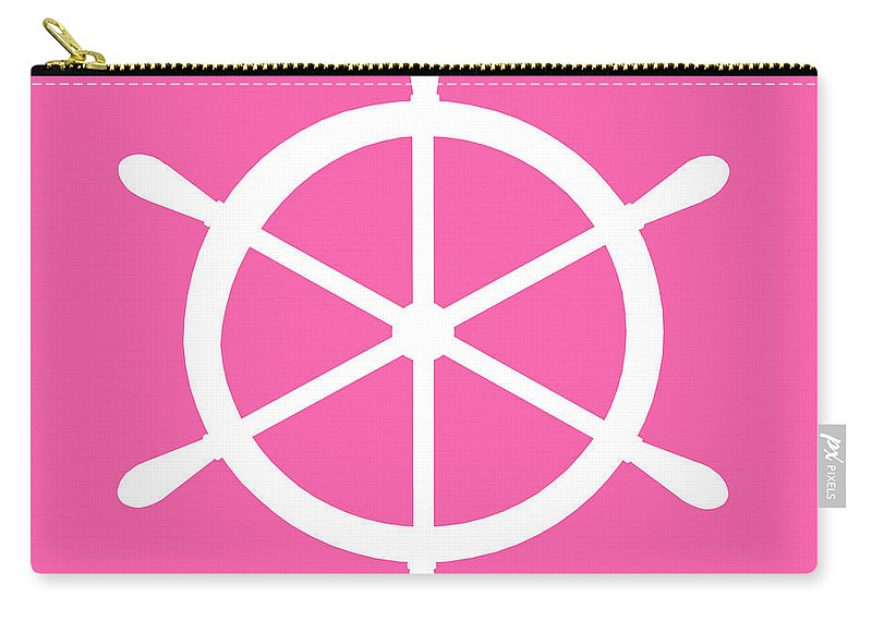 Graphic Art Carry-all Pouch featuring the digital art Helm In White And Pink by Jackie Farnsworth