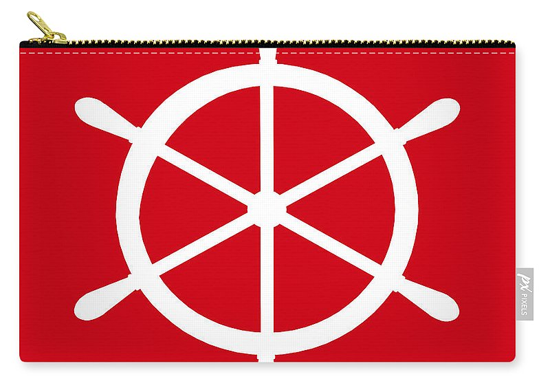Graphic Art Carry-all Pouch featuring the digital art Helm In White And Red by Jackie Farnsworth
