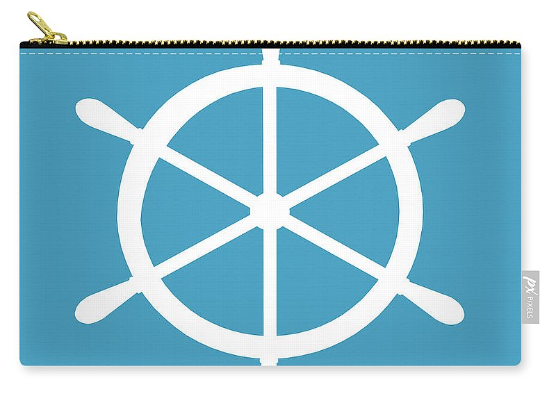Graphic Art Carry-all Pouch featuring the digital art Helm In White And Turquoise Blue by Jackie Farnsworth