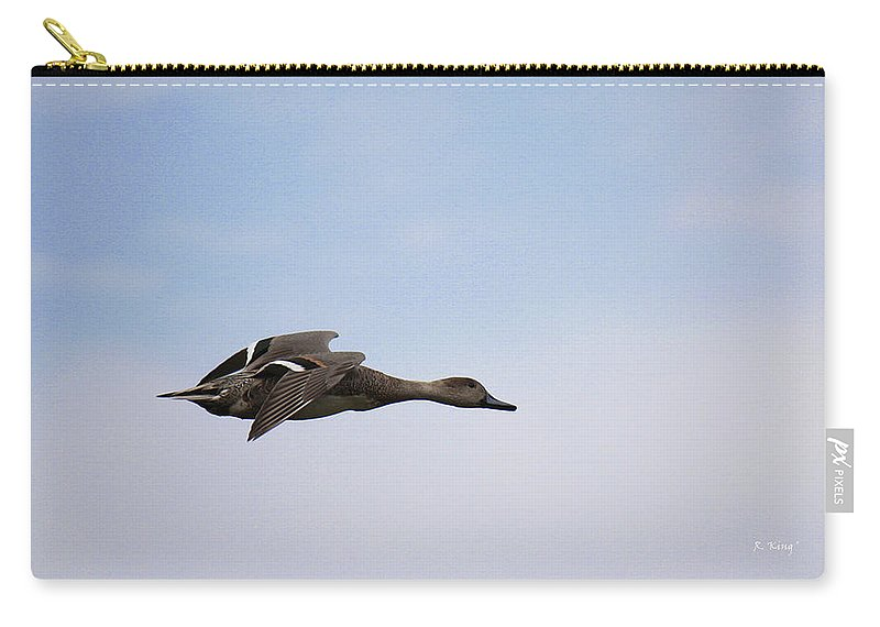 Roena King Carry-all Pouch featuring the photograph Hen Northern Pintail In Flight by Roena King