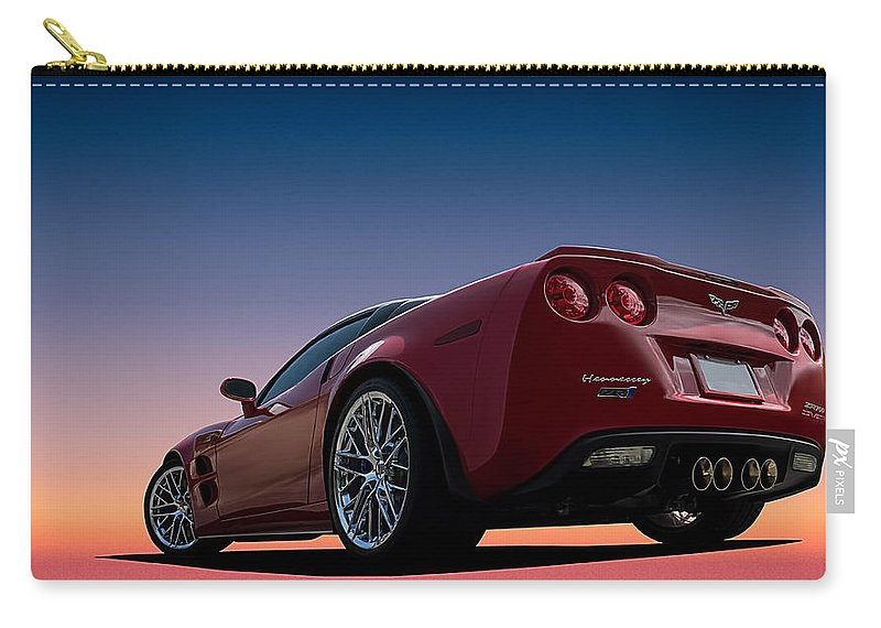 Red Carry-all Pouch featuring the digital art Hennessey Red by Douglas Pittman