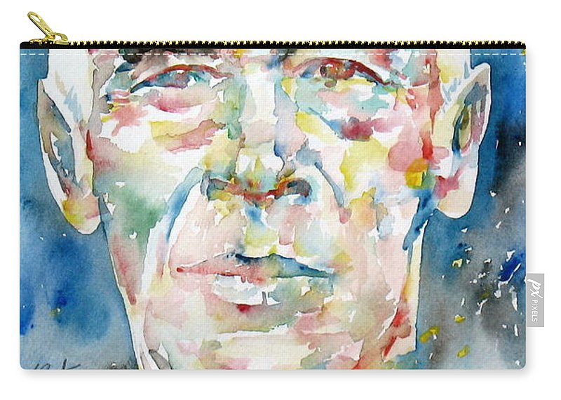Henry Carry-all Pouch featuring the painting Henry Miller Portrait.1 by Fabrizio Cassetta