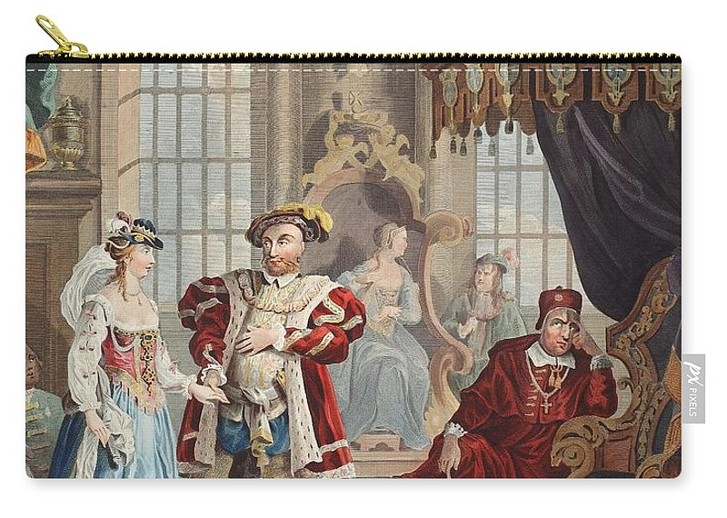 Male Carry-all Pouch featuring the drawing Henry Viii And Anne Boleyn by William Hogarth