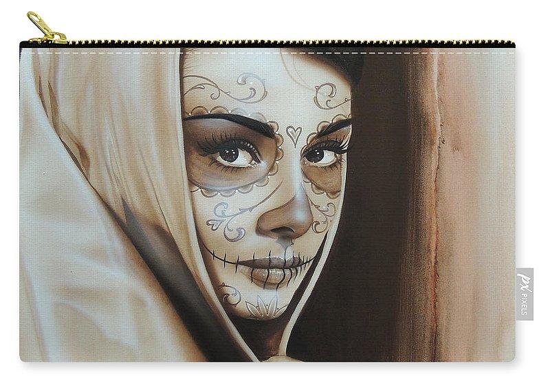 Audrey Hepburn Carry-all Pouch featuring the painting Hepburn De Los Muertos by Christian Chapman Art