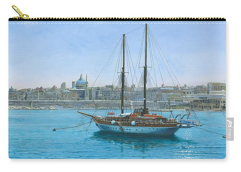 Landscape Carry-all Pouch featuring the painting Hera 2 Valletta Malta by Richard Harpum