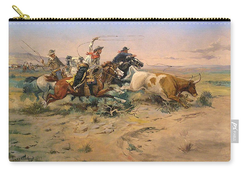 Charles Russell Carry-all Pouch featuring the digital art Herd Quit by Charles Russell