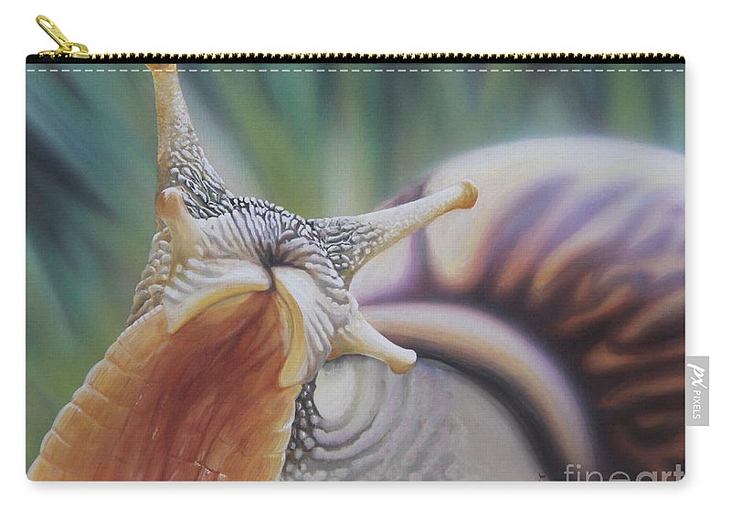 Snail Carry-all Pouch featuring the painting Here I Am by Jackie Mestrom