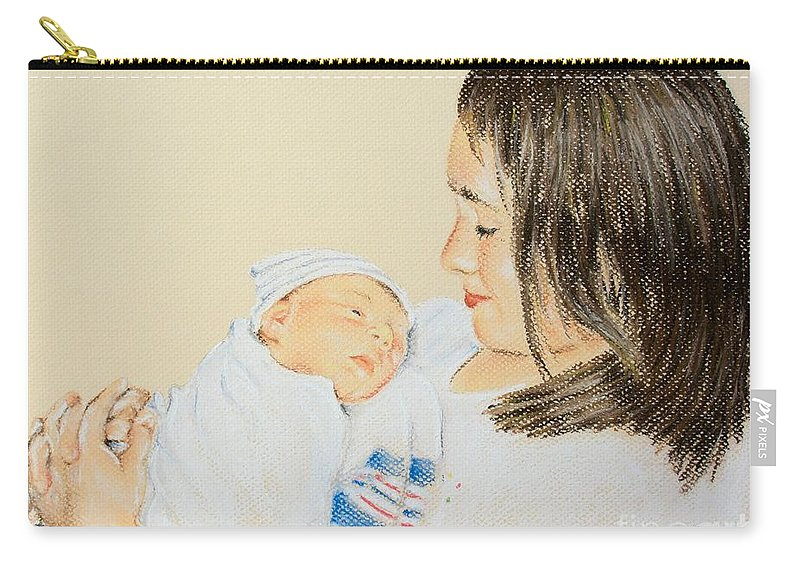 Pastel Carry-all Pouch featuring the pastel Here I Am Sister by Katharina Filus