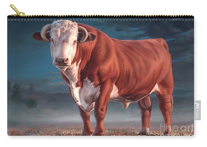 Hereford Bull Carry-all Pouch featuring the painting Hereford Bull by Hans Droog