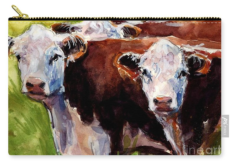 Hereford Cows Carry-all Pouch featuring the painting Hereford Ears by Molly Poole