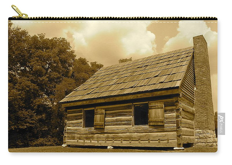 Sepia Carry-all Pouch featuring the photograph Hermitage Farmhouse 2 by Denise Mazzocco