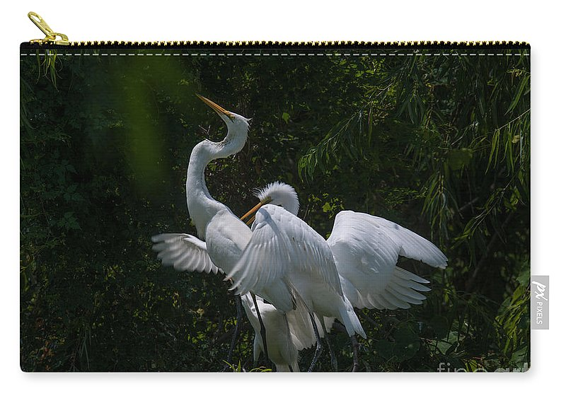 Egret Carry-all Pouch featuring the photograph Heron Dance by Dale Powell