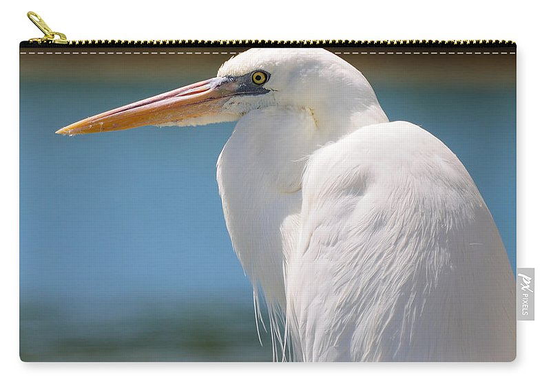White Carry-all Pouch featuring the photograph Heron by David Hart