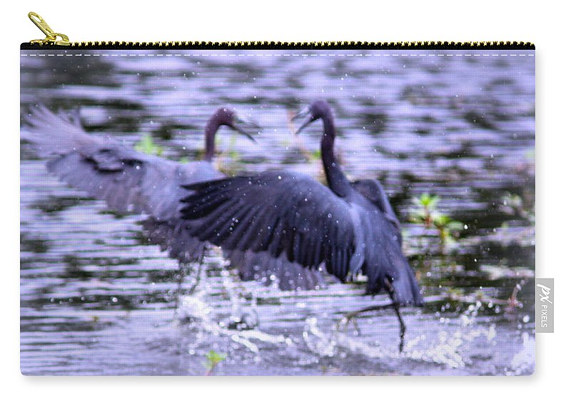 Heron Carry-all Pouch featuring the photograph Heron Encounter - Battle - Fight by Travis Truelove