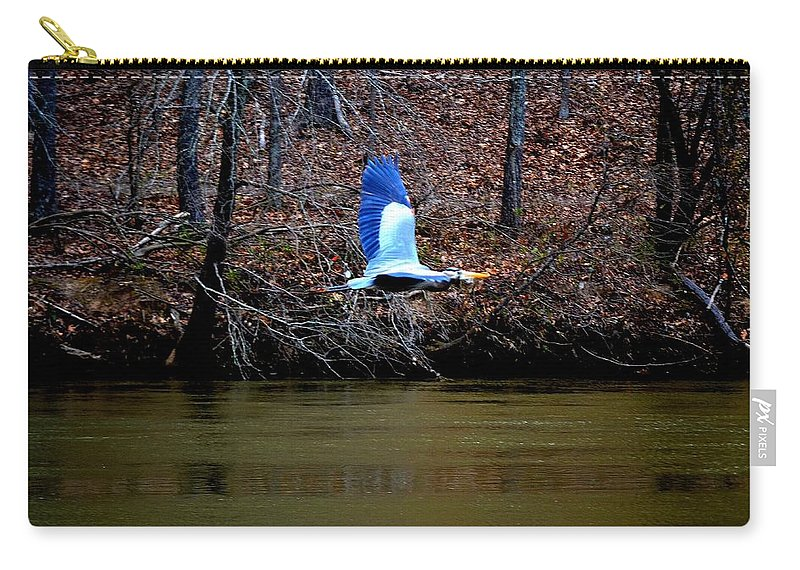 Heron Carry-all Pouch featuring the photograph Heron In Flight by Tara Potts