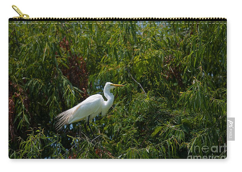 Egret Carry-all Pouch featuring the photograph Heron In Tree by Dale Powell