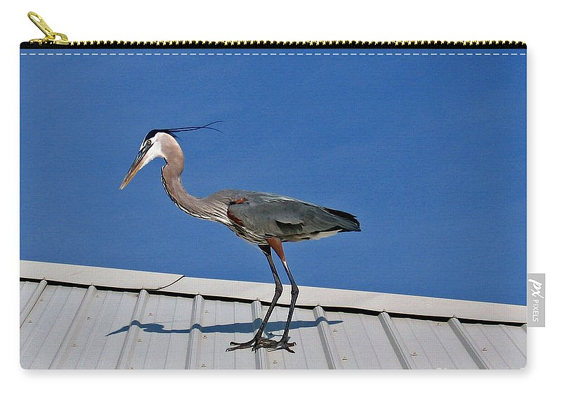 Blue Heron Carry-all Pouch featuring the photograph Heron On Rooftop by Marian Bell