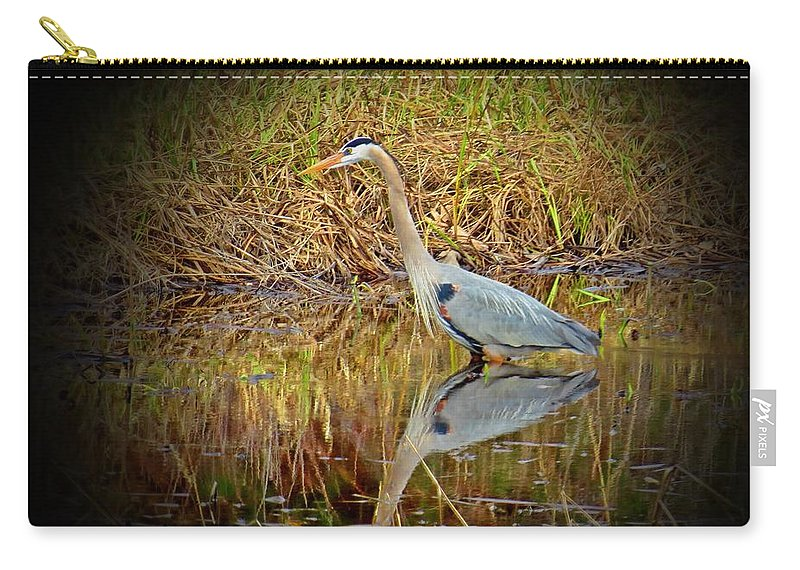 Great Blue Heron Carry-all Pouch featuring the photograph Heron Reflection by MTBobbins Photography