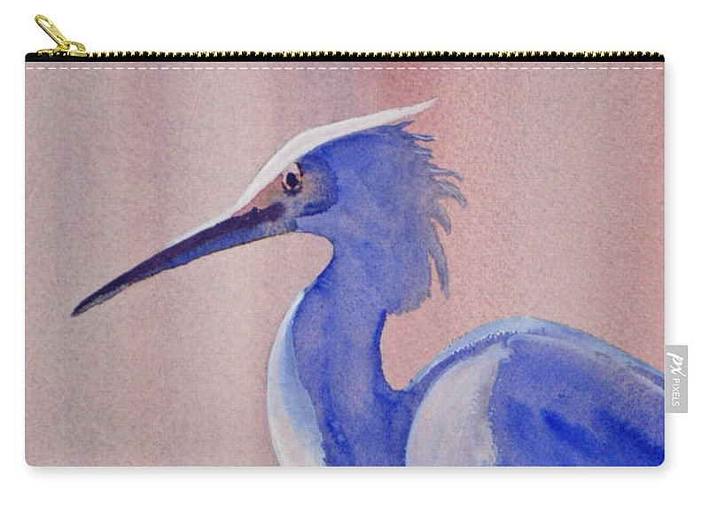Nature Carry-all Pouch featuring the painting Heron by Shirin Shahram Badie