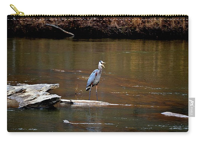 Sweetwater Creek State Park Carry-all Pouch featuring the photograph Heron Talking by Tara Potts