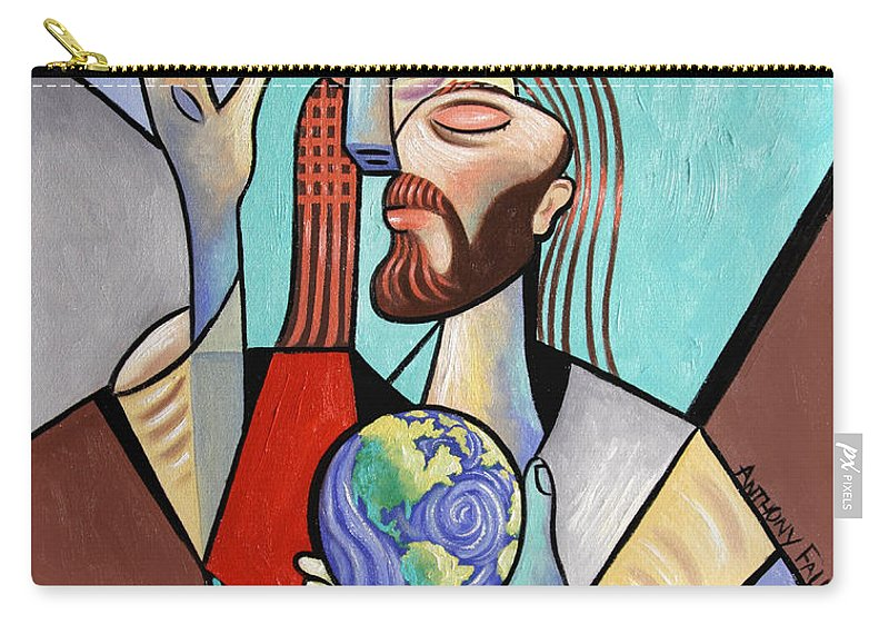Jesus Carry-all Pouch featuring the painting Hes Got The Whole World In His Hand by Anthony Falbo