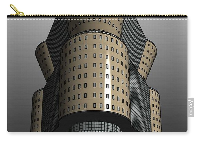 Highrise Carry-all Pouch featuring the digital art Triagonal Building 2 by Ron Bissett