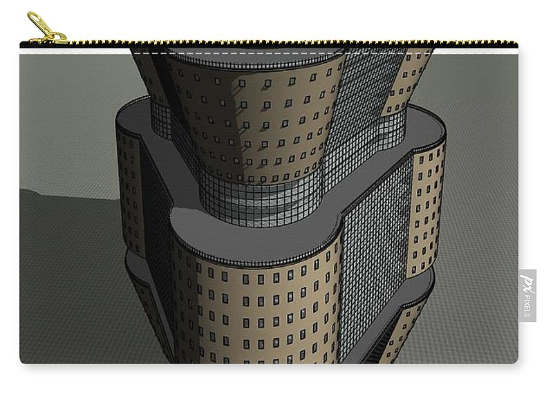 Skyscraper Carry-all Pouch featuring the digital art Triagonal Building 3 by Ron Bissett