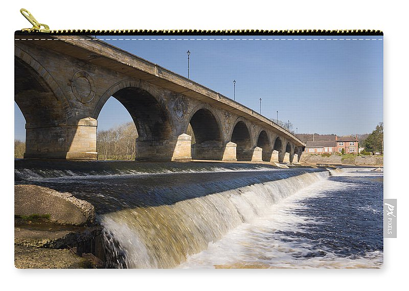 Northumberland Carry-all Pouch featuring the photograph Hexham Bridge And Weir by David Head