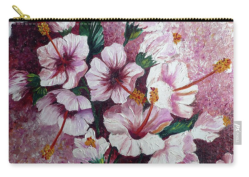 Hibiscus Flower Carry-all Pouch featuring the painting Hibiscus Pink 3 by Karin Dawn Kelshall- Best
