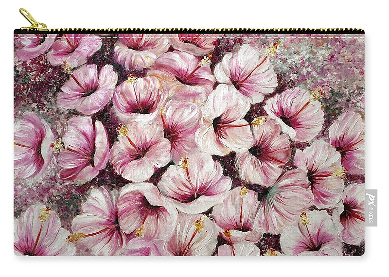 Flower Painting Floral Painting Hibiscus Painting Tropical Painting Caribbean Painting Greeting Card Painting Botanical Painting Blossoms Painting Pink Painting Carry-all Pouch featuring the painting Hibiscus Pink by Karin Dawn Kelshall- Best