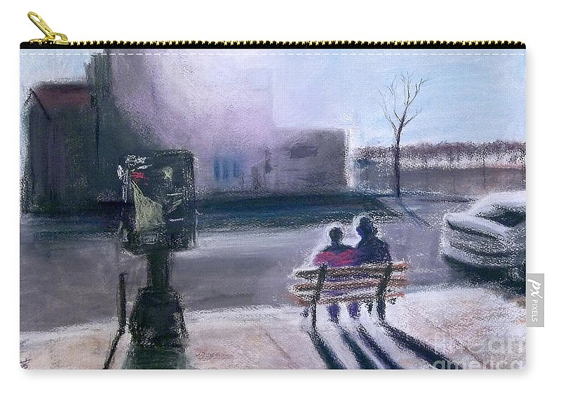 Downtown Carry-all Pouch featuring the painting Hidamari A Sunny Spot At Downtown Ann Arbor Michigan by Yoshiko Mishina