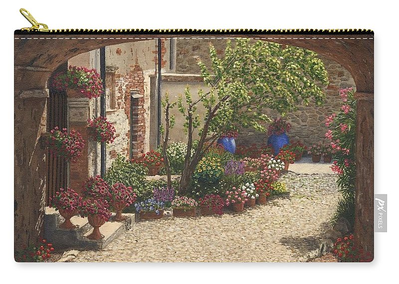 Landscape Carry-all Pouch featuring the painting Hidden Garden Villa Di Camigliano Tuscany by Richard Harpum