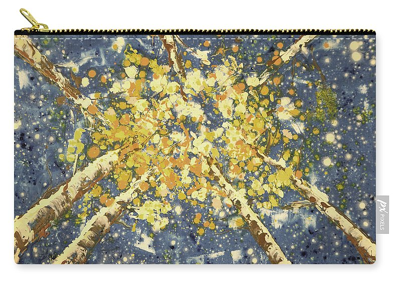 Aspen Trees Carry-all Pouch featuring the painting High - Aspens by Gina De Gorna