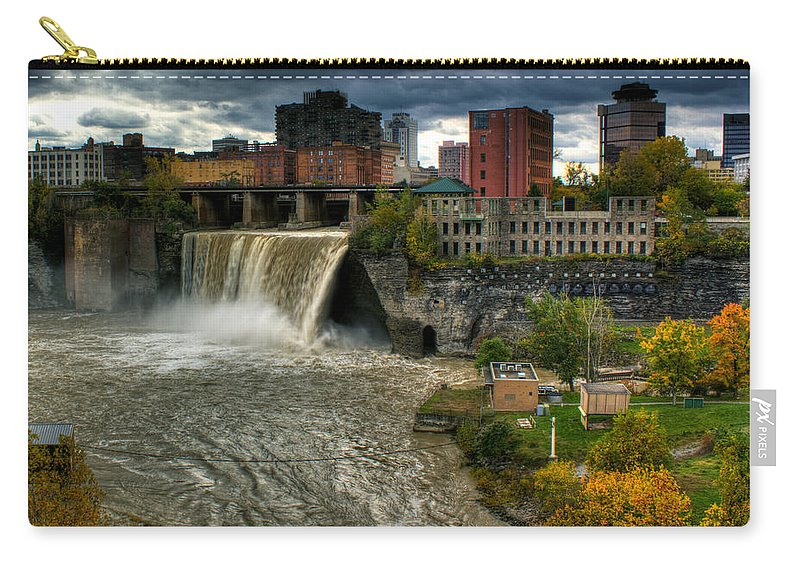 High Falls Carry-all Pouch featuring the photograph High Falls by Tim Buisman