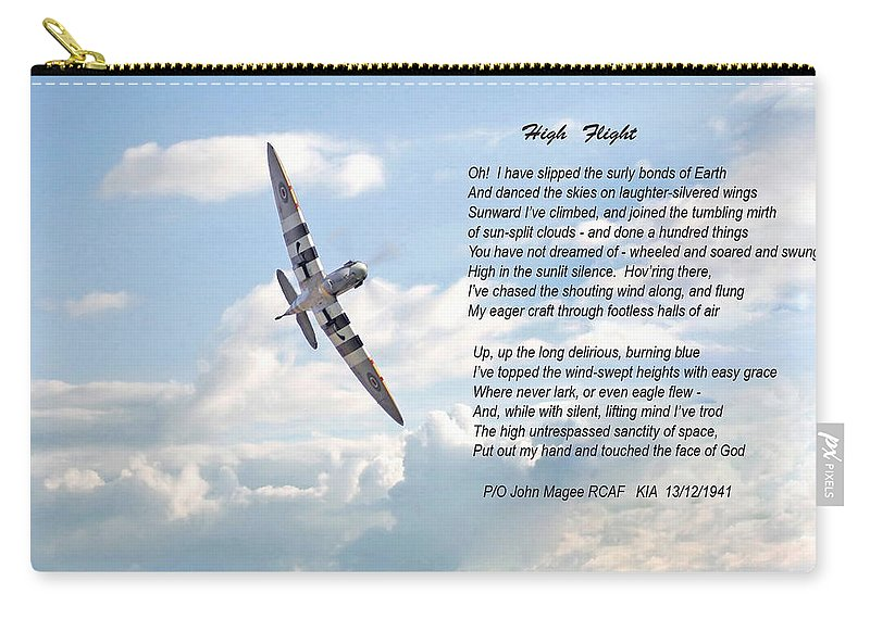 Aircraft Carry-all Pouch featuring the digital art High Flight by Pat Speirs