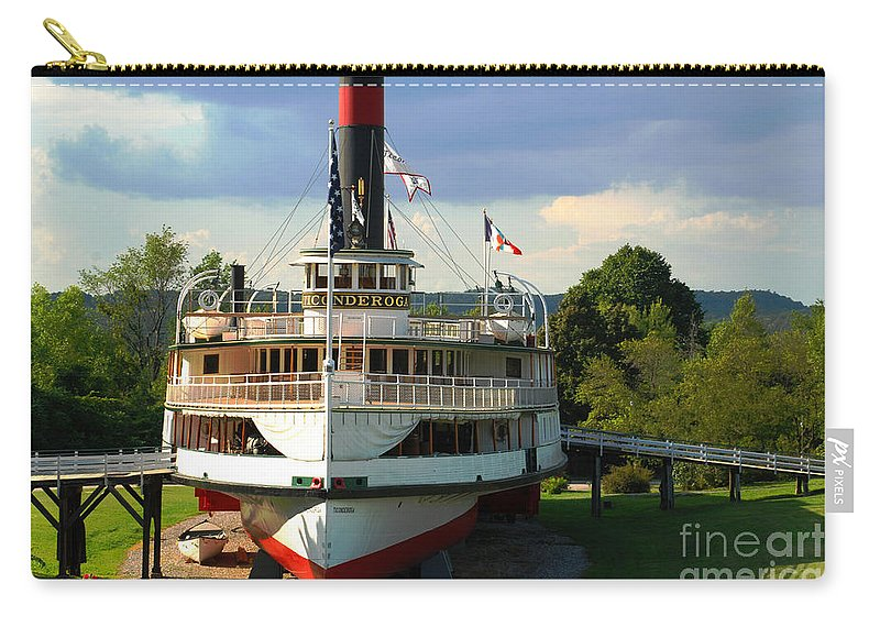 Ticonderoga Shelburne Museum Steamer Steamboat Dry Dock Carry-all Pouch featuring the photograph High N Dry by Richard Gibb