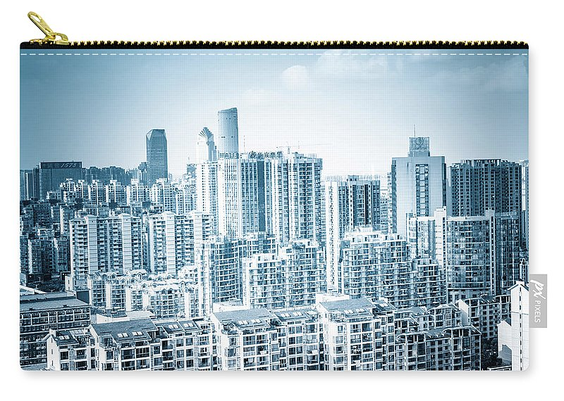 Residential District Carry-all Pouch featuring the photograph High Rise Residential Area by Aaaaimages