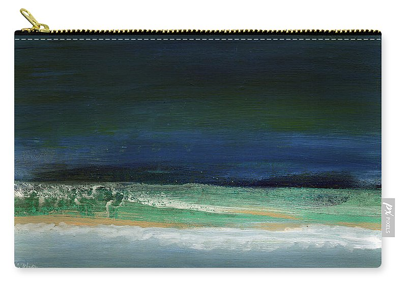 Ocean Carry-all Pouch featuring the painting High Tide- Abstract Beachscape Painting by Linda Woods