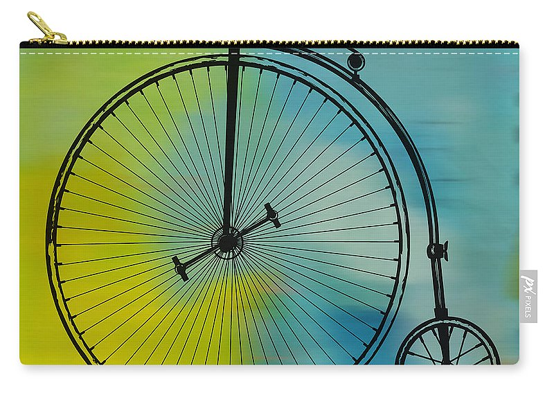 High Wheel Bicycle Carry-all Pouch featuring the digital art High Wheel Bicycle by Marvin Blaine