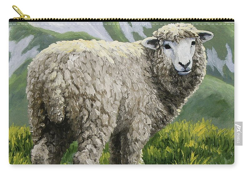 Sheep Carry-all Pouch featuring the painting Highland Ewe by Crista Forest
