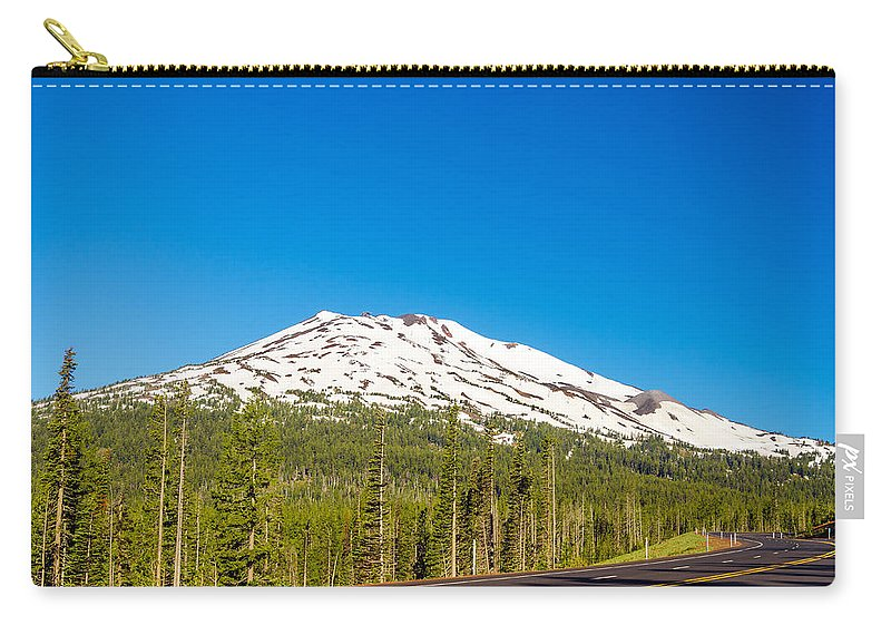 Road Carry-all Pouch featuring the photograph Highway Passing By Mountain by Jess Kraft