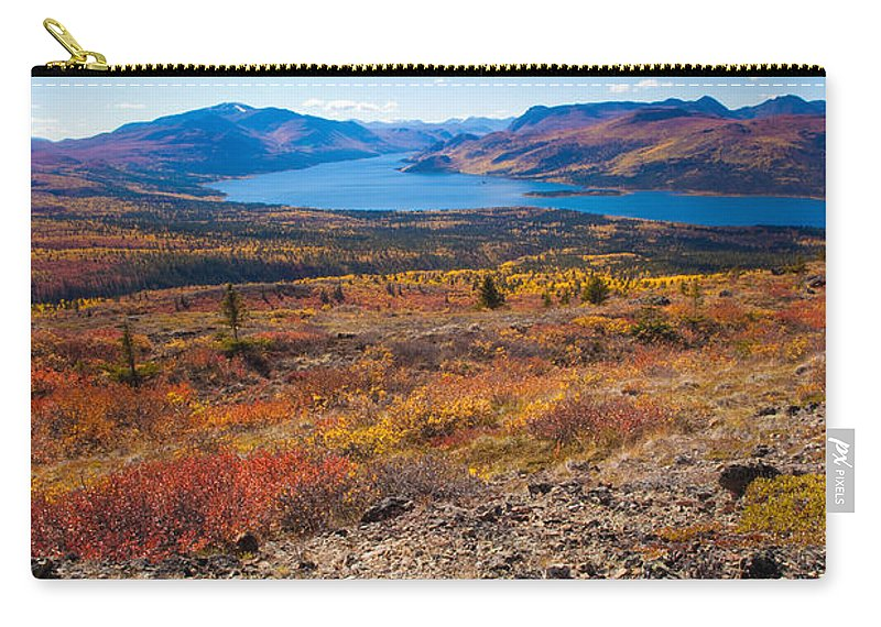 Adventure Carry-all Pouch featuring the photograph Hiker In Fall-colored Tundra by Stephan Pietzko